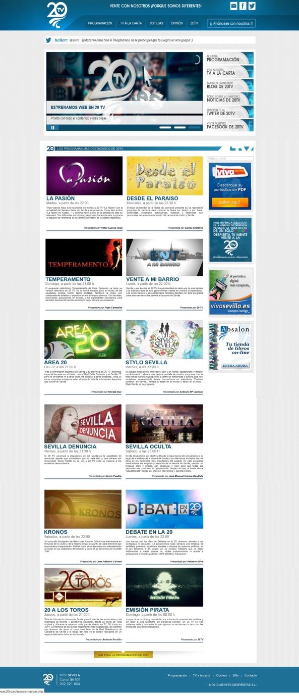 Página web 20 tv